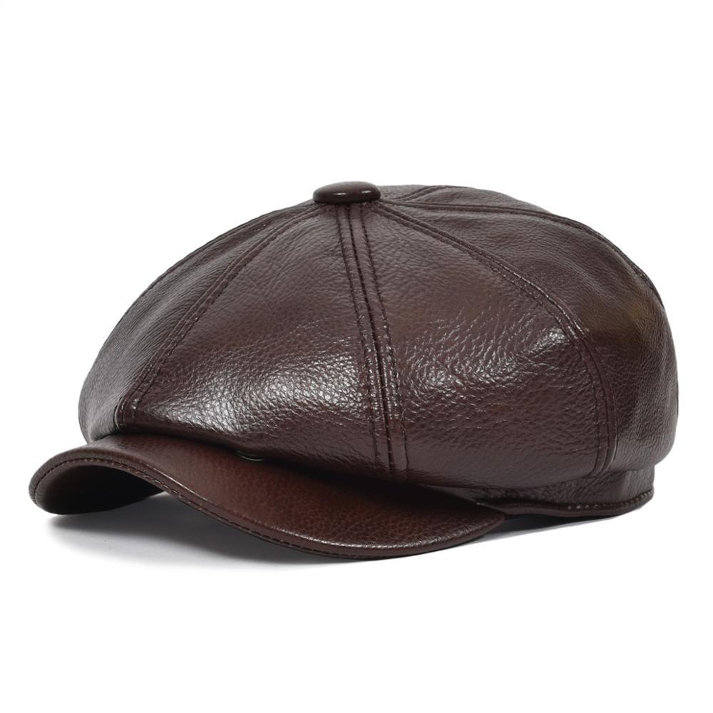 VOBOOM casquette en cuir véritable gavroche hommes femmes béret casquettes Cabbies pilote boulanger garçon chapeau marron 8 panneau Design Gatsby casquette plate 115