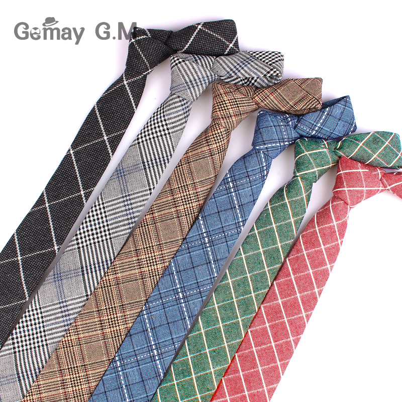 New Casual Plaid Ties For Men Narrow Cotton Necktie For Wedding Colorful Mens Neck Ties Business Tie Adult Cravat Neckties