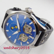 NEW Arrive 46mm Corgeut Blue Dial Moon Phase Leather strap Date Top Brand Luxury Automatic Mechanical Mens Wristwatches