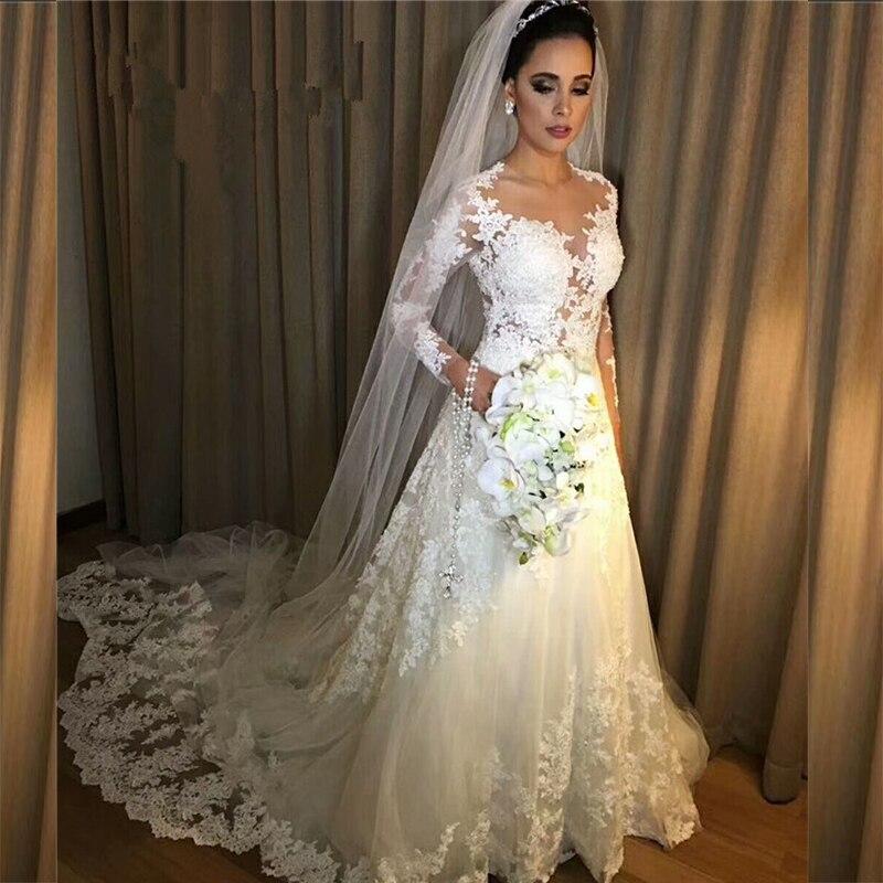 HT001 Cheap Vestido de noiva Sexy Nude Sheer Long Sleeves Lace A Line Wedding Dress 2018