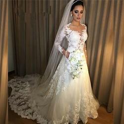 HT001 Cheap Vestido de noiva Sexy Nude Sheer Long Sleeves Lace A Line Wedding Dress 2018 Robe de mariee  Custom Made 1
