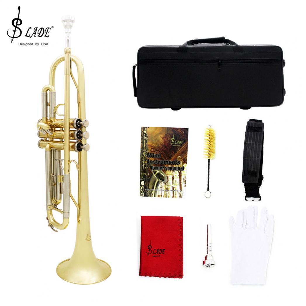 Trompette bicolore Bb plat laiton doré peint avec mallette de rangement nettoyage brosse gants pour amoureux de la musique