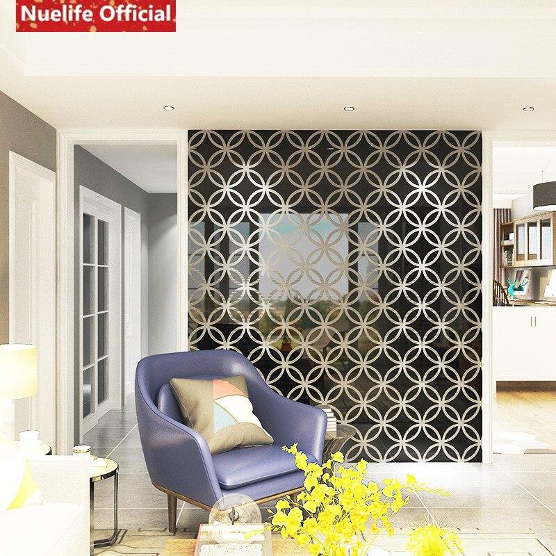 Círculo estilo chino cobre patrón de dinero espejo adhesivo Sala dormitorio fondo de sofá, televisión u oficina pegatina espejo decorativo - 3