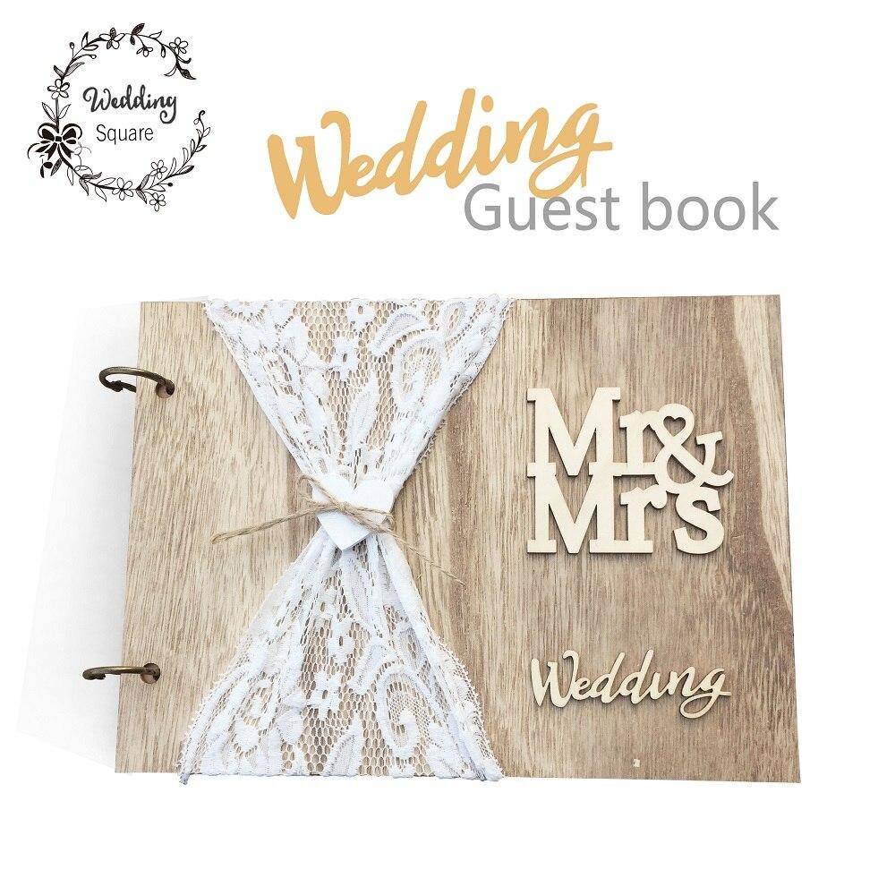 GuestBook do casamento Livro de Visitas De Madeira Personalizado Foto DIY livro de Assinatura livro livros de Hóspedes Lace Decora