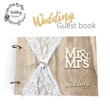 Свадебная Гостевая книга, деревянная книга для гостей, персональный фотоальбом «сделай сам», фирменные книги для гостей, Кружевная декоративная книга