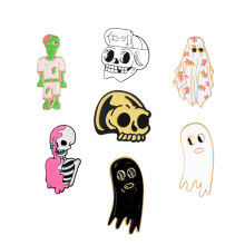 Skeleton Enamel Pins Skull Ghost Zombie Brooches Punk Pins Collection Lapel Pin Badge Gothic Halloween Jewelry Gift for friends(China)
