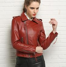 Spring black red black blue motorcycle genuine leather jacket womens sheepskin jackets and coats slim oblique zipper short 3XL