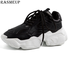 RASMEUP Plus Size Women Chunky Street Sneakers Knit Women Platform Increased Shoes 2019 Breath Woman Trainers Lady Footwear