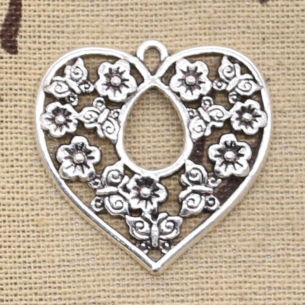 4pcs Charms Heart Flower 30x30mm Antique Making Pendant Fit,Vintage Tibetan Silver Bronze,DIY Handmade Jewelry