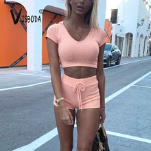 Womens Knitted Tracksuit Pink Hooded Cropped Top Hot Shorts 2 Piece Set Summer Fashion Ladies Casual Stretch Suit Street Wear