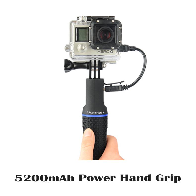 Prix pour 5200 mAh Externe Portable Puissance main grip batterie supplémentaire vie pour Gopro 3 3 + 4 Xiaomi Yi Cam SJ4000 Peut se connecter avec trépied