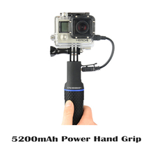 5200mAh Portable External Power hand grip additional battery life for Gopro 3 3+ 4 Xiaomi Yi Cam SJ4000 Can connect with tripod