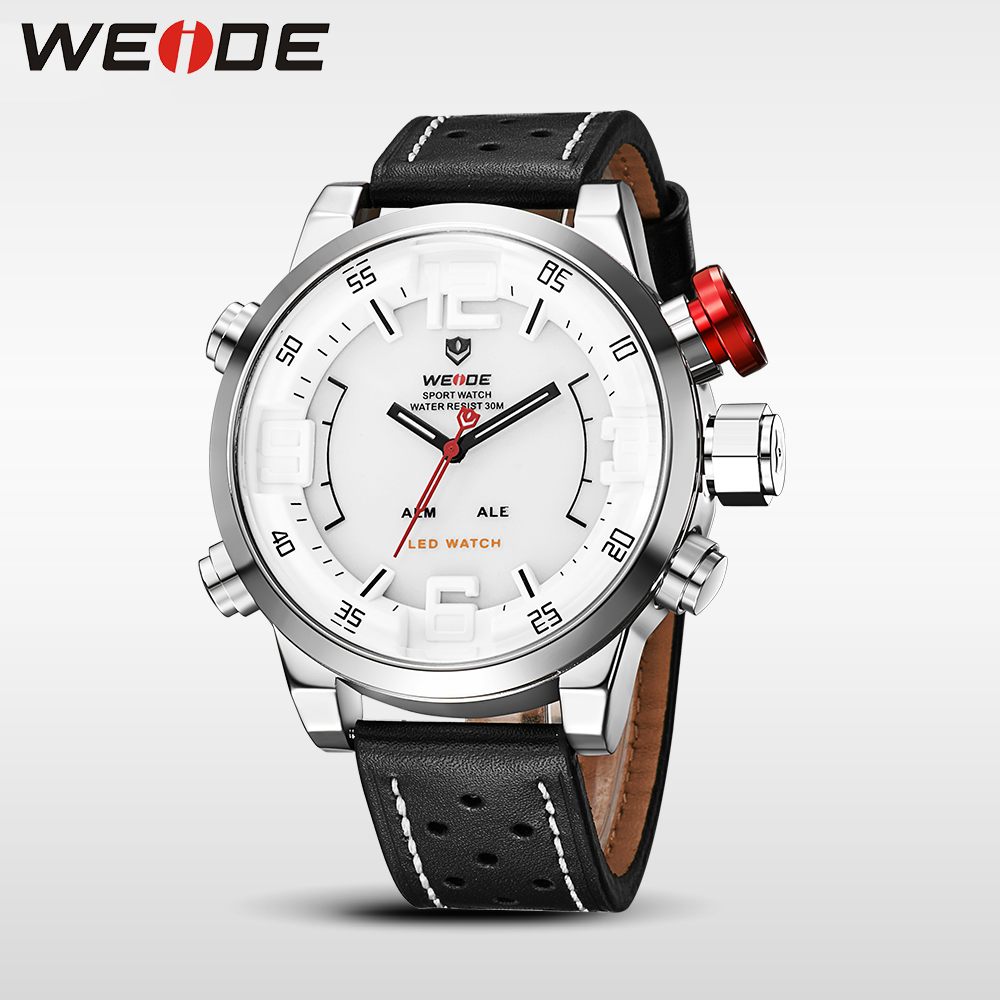 WEIDE Men's Sports Watch Analog LED Digital Leather Strap Erkek Kol Saati Military Luxury Quartz bayan kol saati relogios montre montre femme retro design pu leather band green dial analog alloy quartz wrist watch bayan kol saati lady ladies wristwatches