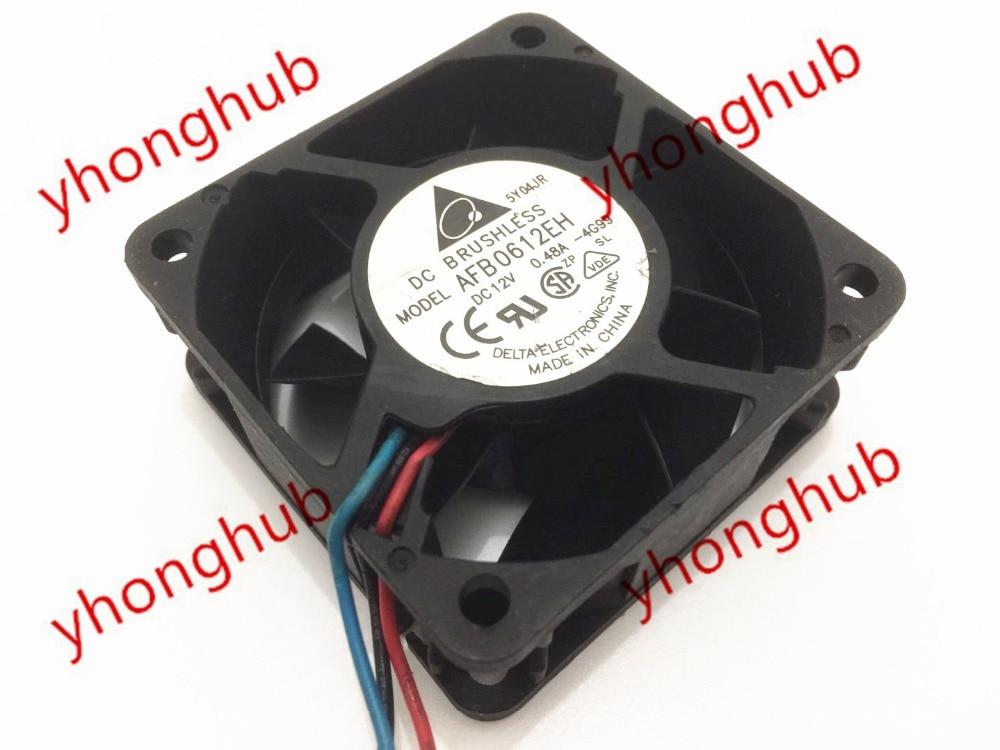 Delta AFB0612EH 4G99 DC 12V 0.48A 60x60x25mm Server Square Fan 3-wire