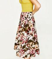 Woman 2017 Fashion Floral Printed midi skirt with elastic tab at the waist Pleated Skirts With Pockets