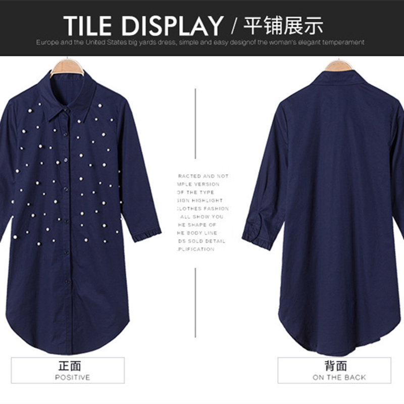 1528ed169b4 Navy blue shirt women 2018 Spring 100% cotton beading long shirt plus size  three quarter three quarter sleeve womens tops-in Blouses   Shirts from  Women s ...