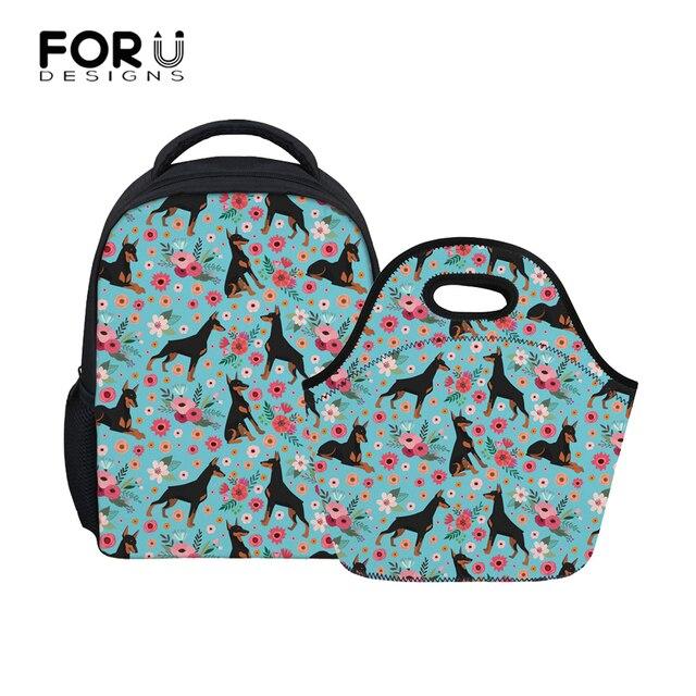 c7bfb8bb8f FORUDESIGNS 2Pcs set Kids Kindergarten School Bags Children Doberman Flower  Printing School Backpack for Girls Boys Small Bag