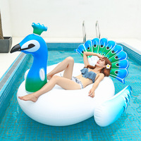 200cm Giant Inflatable Peacock Pool Float Fun Beach Swim Party Toys Pool Island Summer Pool Raft Lounge for Adults & Kids