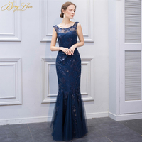 BeryLove Elegant Navy Blue Mermaid Mother of Groom Dress 2019 Wedding Cheap Long Sequined Lace Mother of the Bride Dress Mom