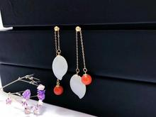 SHILOVEM 18k yellow gold Natural red agate white  Jasper drop earrings classic fine Jewelry women gift 10*16mm yze101666hby