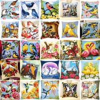 DIY Needlework Kit Unfinished Acrylic Yarn Embroidery Pillow Tapestry Canvas Cushion Front Cross Stitch Pillowcase Bird