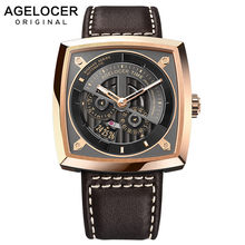 AGELOCER Swiss Brand Military Watches for Men Rose Gold Black Dial Brown Leather Automatic Watches with Power Reserve 5603D2(China)