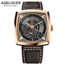 AGELOCER Swiss Brand Military Watches for Men Rose Gold Black Dial Brown Leather Automatic Watches with Power Reserve 5603D2