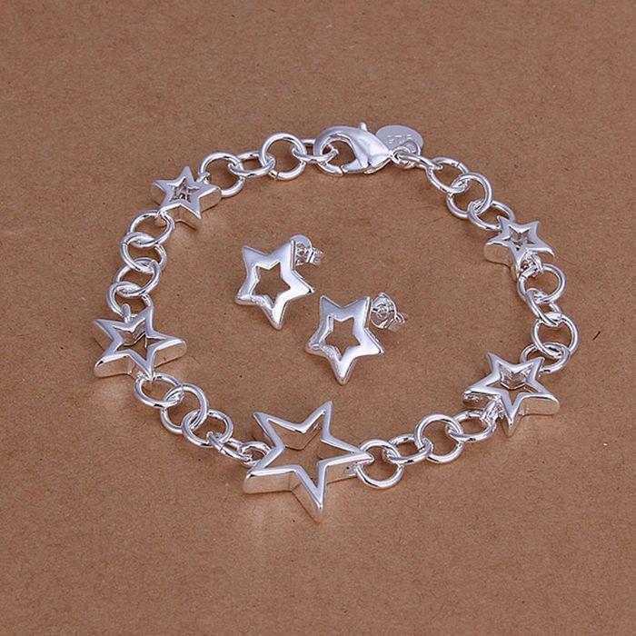 925 jewelry silver plated  jewelry set, fashion jewelry set Heart Earrings Bracelet S176 /clzaldga cwwaloda LKNSPCS176