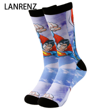 2017 flying superman printing Men and women fashion Funny socks 3d printed socks 200 knitting oil painting compression socks