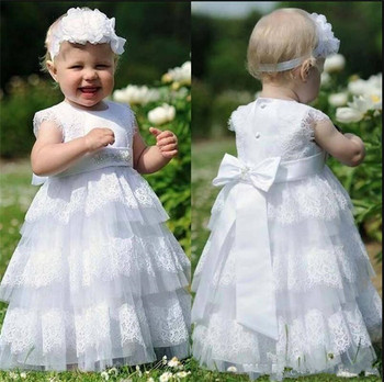 Popular Flower Girl Dress with White Soft Lace Bow Tiered Cute Princess Dress First Communion Gowns Any Size and Any Color