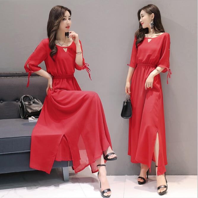 2018 summer new fashion Korean version of the large size women's loose waist was thin chiffon short-sleeved split dress female