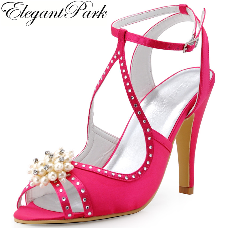 Summer Sandals Women Pearls Ankle Strap High Heel Pumps Hot Pink Green Satin Bride Bridesmaid Wedding Bridal Party Shoes EP11058
