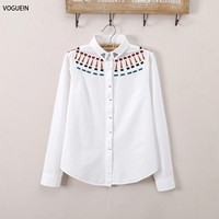 VOGUE N New Womens Ladies Spring Geometric Embroidered Long Sleeve Blouse Casual Tops Shirt White