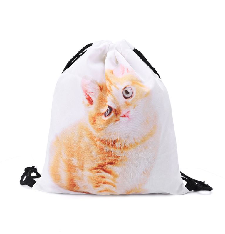 3D Cute Printed Drawstring Bags Rucksacks Cinch Sack Animal Pattern Backpacks For Women