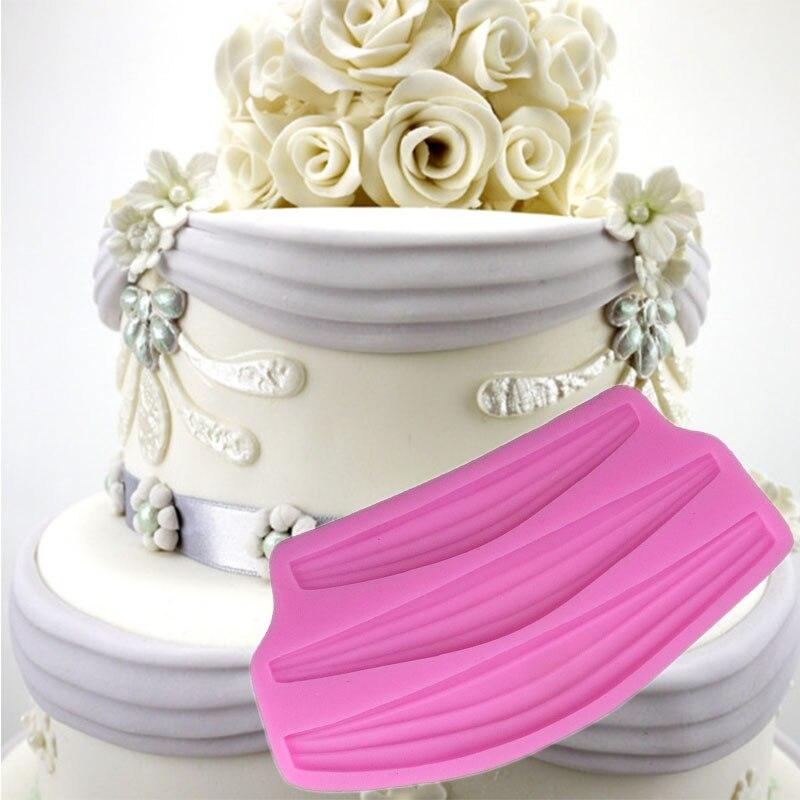 Ribbon Curtain Fondant Cake Decorating Tool Lace Mold