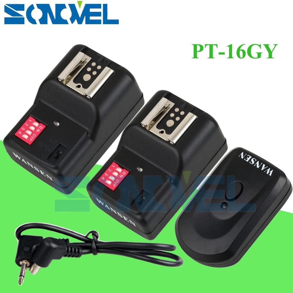 Wansen PT-16GY 16 canales disparador de flash inalámbrico Transmisor SET con 2 receptores para Canon Nikon Pentax Olympus Yongnuo Sigma