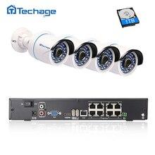 Techage Full HD 8CH NVR 1080 P PoE Комплект системы видеонаблюдения 2MP Indoor/Открытый IP Камера Водонепроницаемый ИК P2P видеонаблюдения