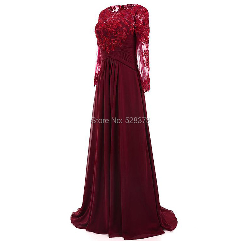 YNQNFS MD116 Elegant Chiffon Empire Long Sleeves Mother Of The Bride/Groom Dresses Outfits Burgundy 2019