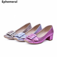 2018 Newest Low Heels Shoes Ladies Pumps Square Toe With Buckle Gold Silver Purple High Heels