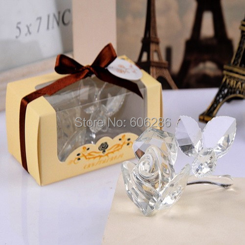 wholesale 30pcslot white crystal rose with three pcs leaves bridal shower wedding party gifts
