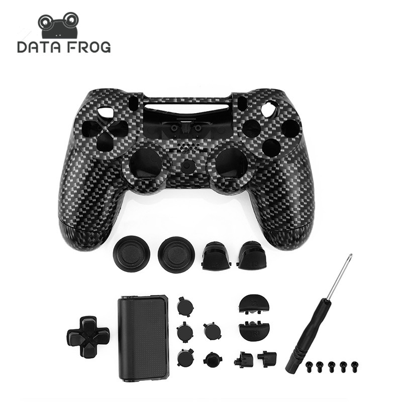 Custom Black Carbon Fiber Controller replacement Shell Housing Cover For Sony Playstation 4 dualshock 4 PS4 Controller + button