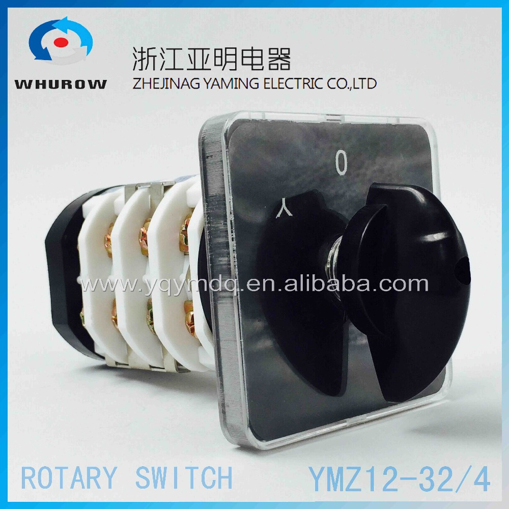 Changeover switch YMZ12-32/4 selector starter star / triangle electrical rotary cam switch 32A 4 pole 3 position sliver contacts 660v ui 10a ith 8 terminals rotary cam universal changeover combination switch
