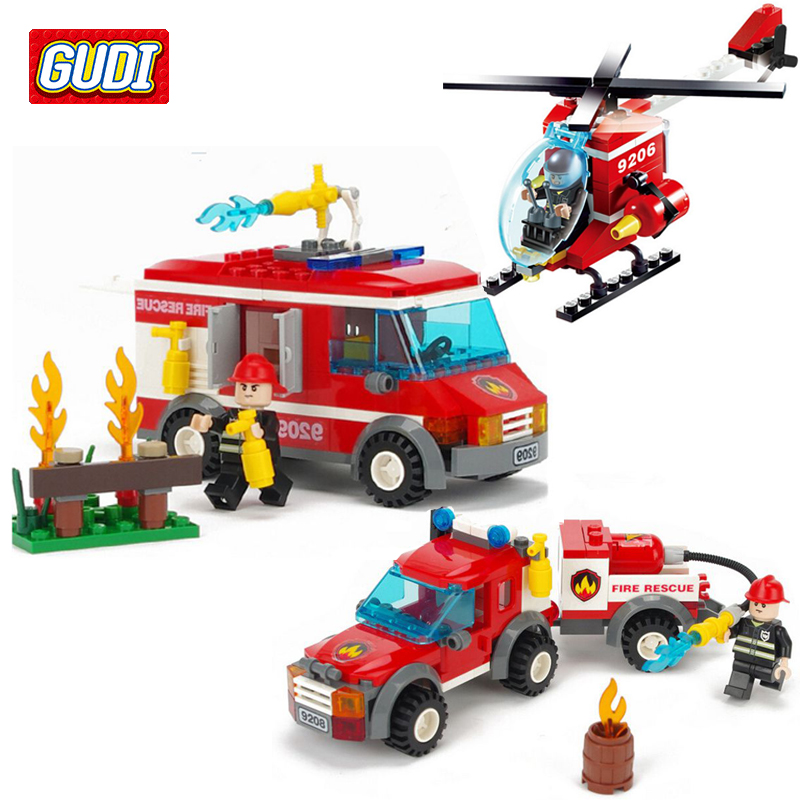 GUDI Fire Truck Blocks Children Educational Assembled Model Airplane Building Kits Blocks Toy Boy Kid Best Gift Brinquedos 2017 hot sale forest animals children assembled diy wooden building blocks toys baby toy best gift for children ht2265