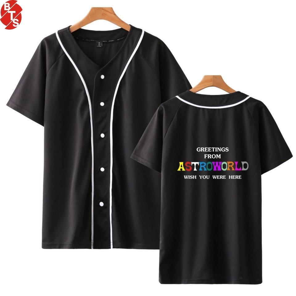 2018 ASTROWORLD Berretto Da Baseball di Estate T-Shirt Donne Uomini Manica  Corta Moda ac01c5653c7d