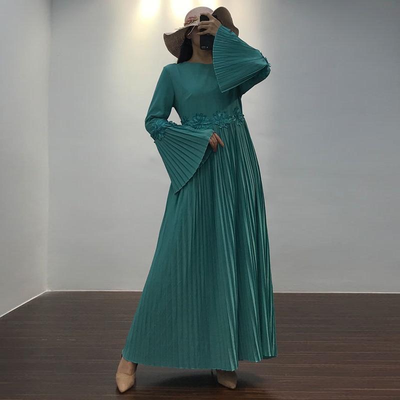 Vestidos Pleated Muslim Dress Abaya Kaftan Pakistani Arabic Hijab Dresses Caftan Marocain Islam Dresses Robe Musulmane Longue