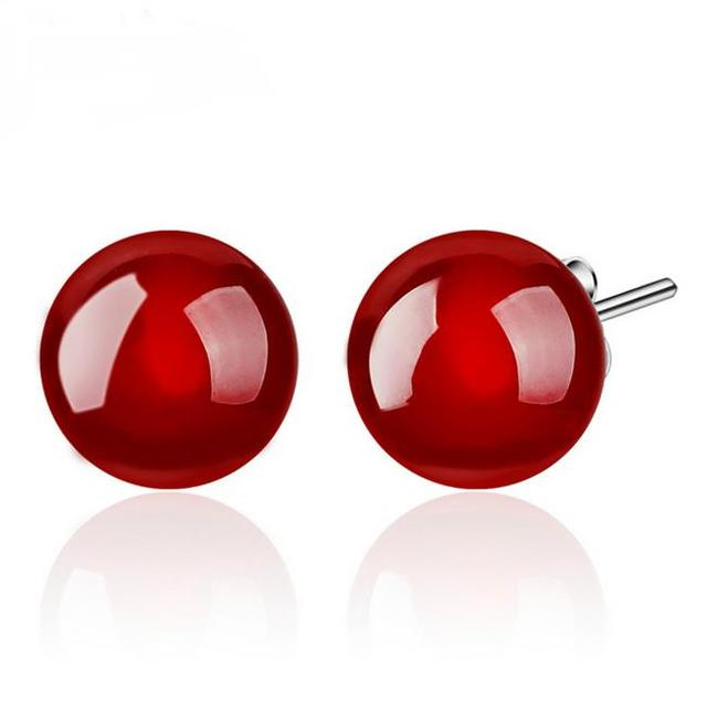 OMHXZJ WHOLESALE Fashion jewelry Red black blessing Good luck Vintage Agate REAL S 925 STERLING SILVER STUD EARRINGS YS83