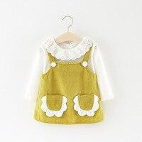 Lente Nieuwe Meisje T-shirts + jurk 2 Stks Sets Dubbele Pocket Baby Kraag T-shirt Twee Pak A200 0-3 jaar
