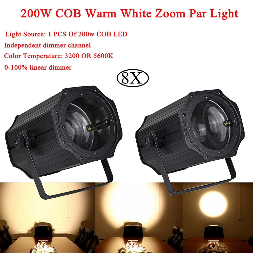 8Pcs/Lot 2019 Newest 200W COB Warm White Zoom Par Light Linear ZOOM Warm and White DMX512 LED Par For Stage Wedding Disco DJ