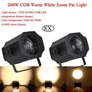 8Pcs/Lot 2019 Newest 200W COB Warm White Zoom Par Light Linear ZOOM Warm and White DMX512 LED Par For Stage Wedding Disco DJ - DISCOUNT ITEM  0% OFF All Category