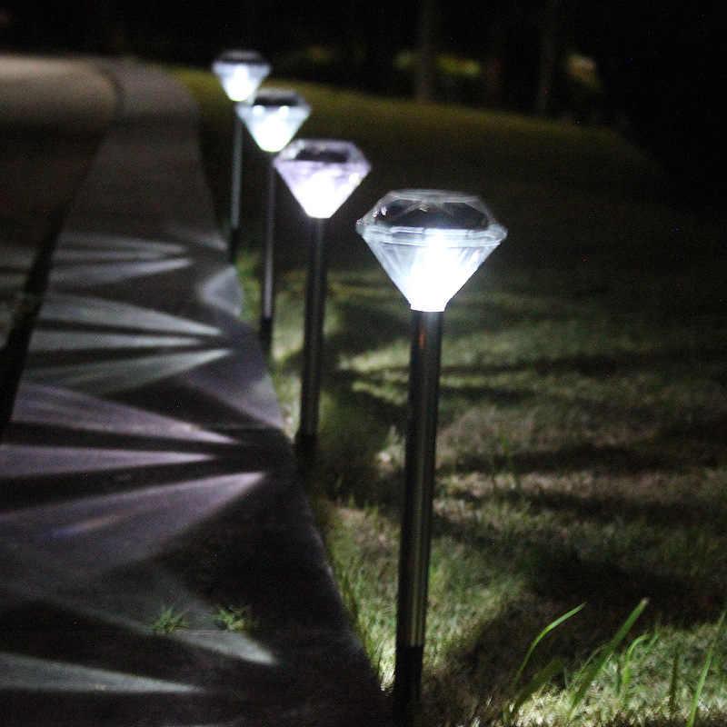LYFS Солнечный Мощность светодиодный Нержавеющаясталь Ландшафтные лампы Открытый сад для улицы, для газонов лампы прямо светильник «Алмаз»
